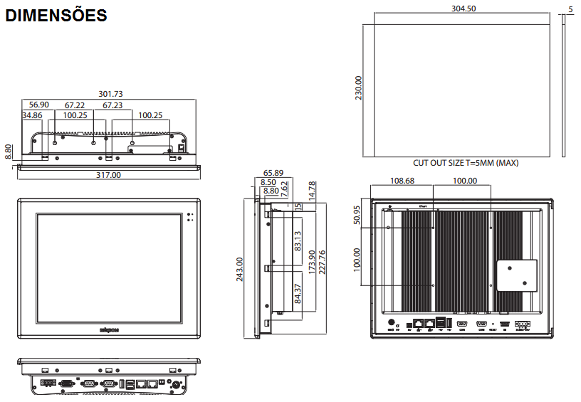 APPC1245T-COMPUTADOR-INDUSTRIAL-FANLESS-TELA-12-TOUCH-DIMENSAO