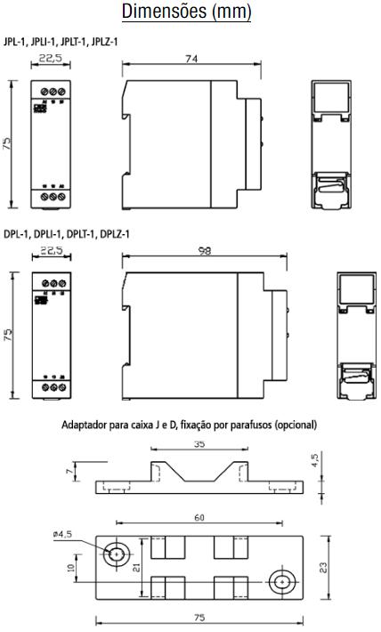 DPL-JPL-MINI-RELE-MICROPROCESSADO-DIMENSAO